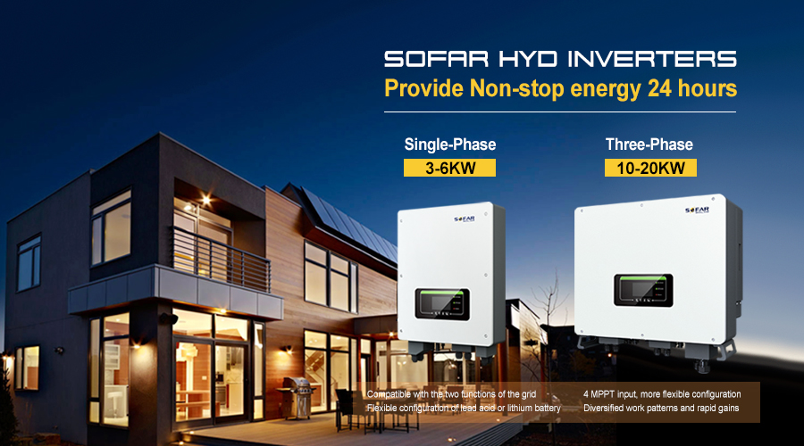 Different Modes of SOFAR HYD Inverter Provide Non-stop energy 24 hours