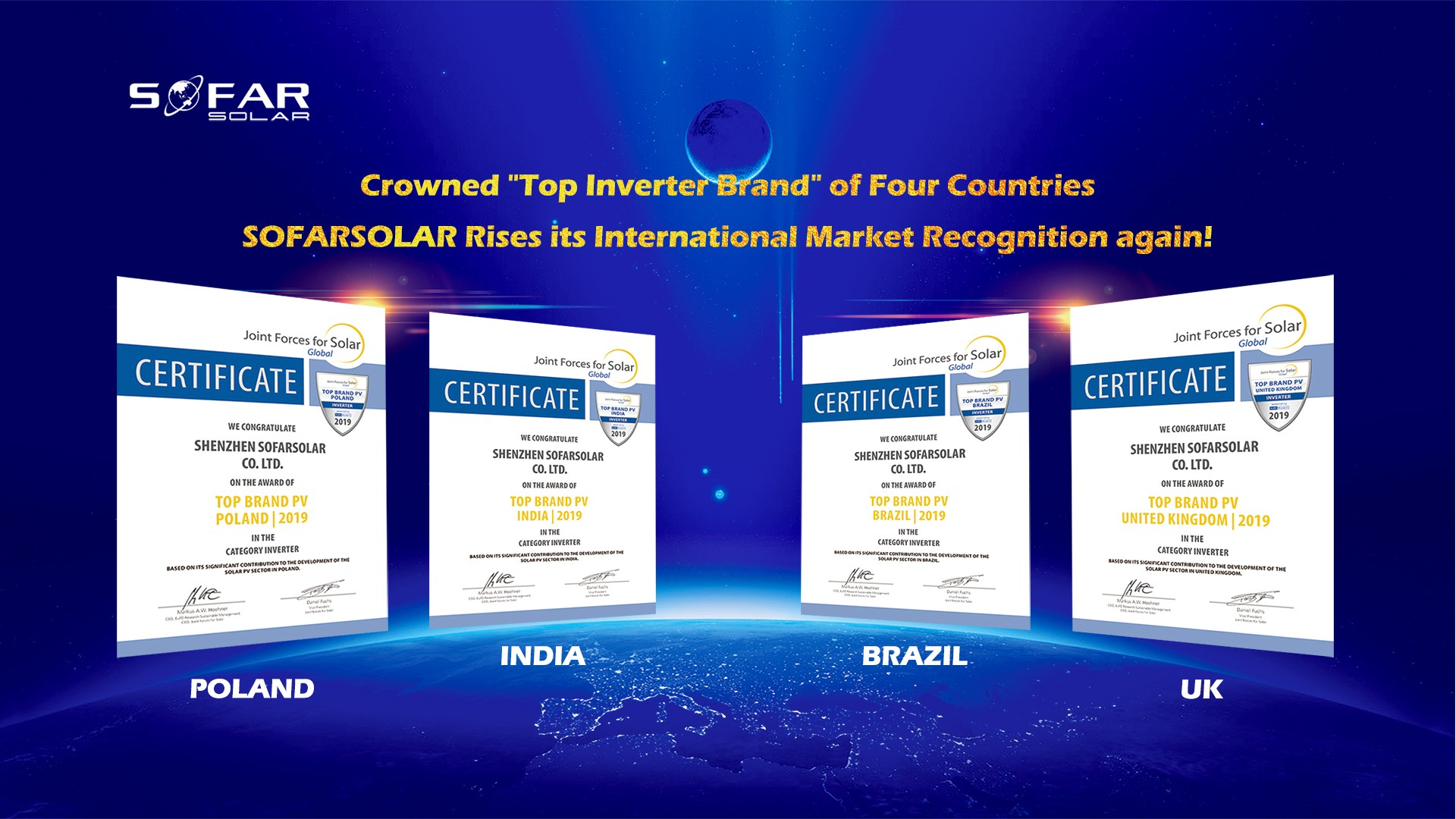 """Crowned """"Top Inverter Brand"""" of Four Countries, SOFARSOLAR Rises its International Market Recognition again!"""